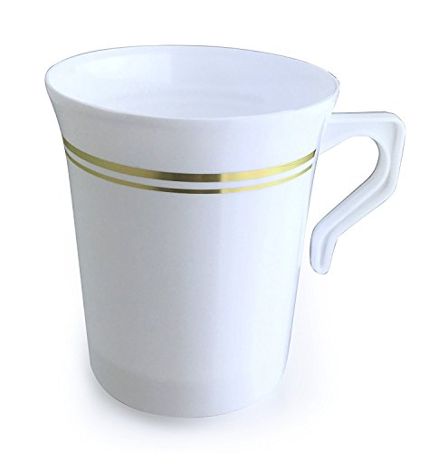 OCCASIONS 40 PACK,Heavyweight Disposable Wedding Party Plastic 8 oz Coffee Mugs Gold Trim/Tea Cups/Cappuccino Cups/Espresso Cup with Handles (8 oz Coffee, White/Gold Rim)