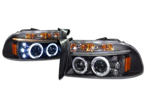BLK DRL LED HALO RIMS PROJECTOR HEAD LIGHTS LAMP SIGNAL 1997-2004 DAKOTA/DURANGO