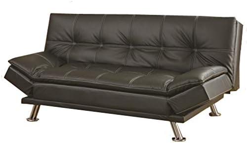 coaster home furnishings dilleston convertible futon sofa bed   black faux leather futons   amazon    rh   amazon