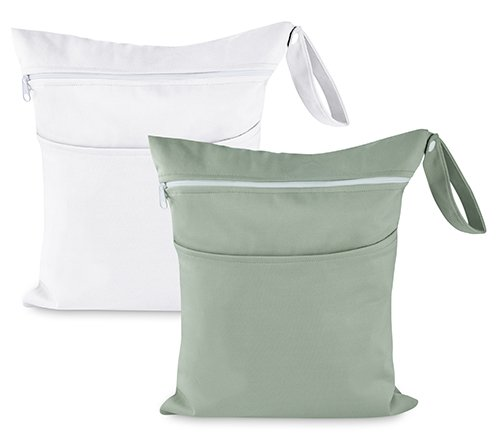 Wet Bags | Sweet Baby Carrot: 2-Pack Wet/Dry Bags Set for Baby Diapers & Clothes| Sturdy, Reusable & Waterproof | 2 Zippered Pockets & Easy-Carry Handle| Top Travel Organizer Accessory (Gray & White)