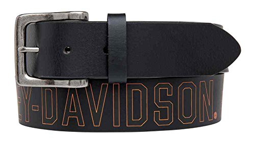 [Harley-Davidson Men's Milwaukee Original Belt, Black Leather HDMBT11031-BLK (36)] (Milwaukee Harley Davidson)