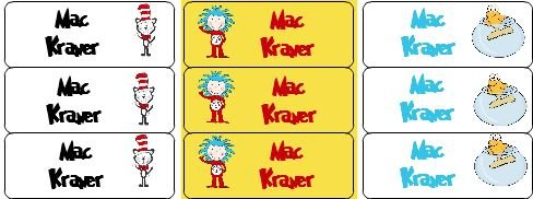 30 Personalized Waterproof Name Labels Dr. Seuss Labels Seuss Inspired Name Labels Personalized Name Labels Personalized Tags Favor Tags Daycare -