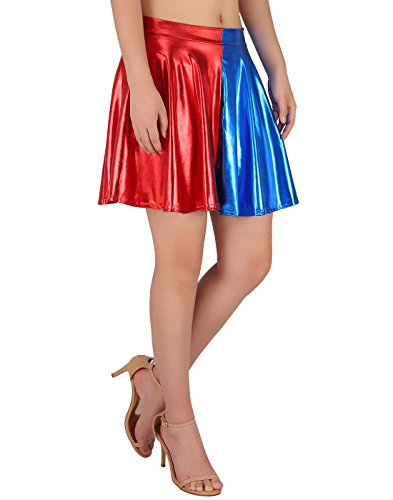 HDE Women's Casual Fashion Flared Pleated A-Line Circle Skater Skirt (Blue and Red, -