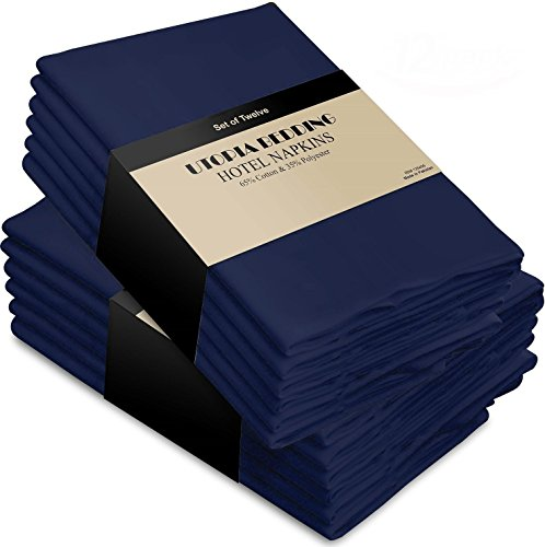 Cotton Dinner Napkins Navy-Blue - 12 Pack (18 inches x18 inches) Soft and Comfortable - Durable Hotel Quality - Ideal for Events and Regular Home Use - by Utopia Bedding (Blue White Dinner Napkins And)