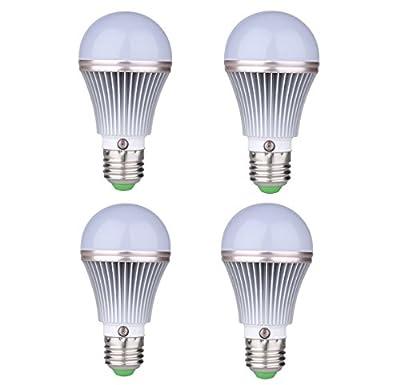 4-Pack E27 5W LED Dusk to Dawn Sensor Light Bulbs [Aluminum] Built-in Photosensor Detection Auto Switch Light 3000K Warm White Indoor/Outdoor Lighting Lamp for Porch Hallway Patio Garage