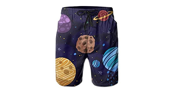 EYFlife Cartoon Planet Galaxy Background Men/'s Beach Board Shorts Quick Dry Swim Truck Shorts