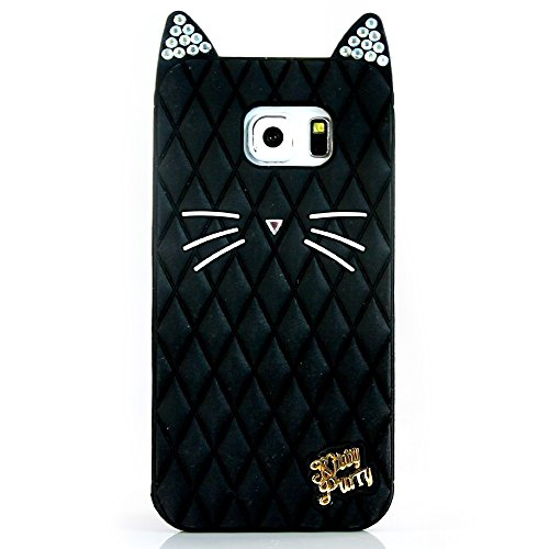 TISHAA Samsung Galaxy S5 Case, Cute Black Bling Cat Protective Soft Skin Cover Silicone Rubber Cell Phone Case