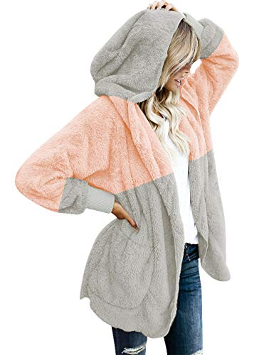 LookbookStore Ladies Oversized Open Front Hooded Splice Pocket Cardigan Outerwear Pink and Light Grey Size M (Fit US 8 - US 10)