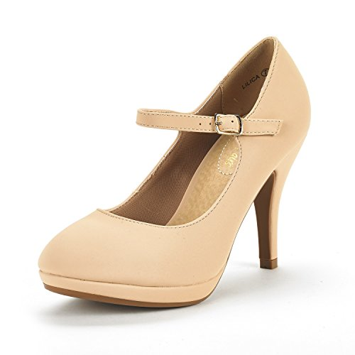 DREAM PAIRS Women's LILICA Nude Nubuck Mary-Jane Close Toe Stilleto Platform Heel Pump Shoes - 7 M - Nude Round Women