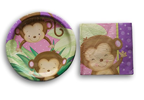 13' Round Plate (Safari Party Supply Kit - Cute Monkey Patterned Napkins and Plates)