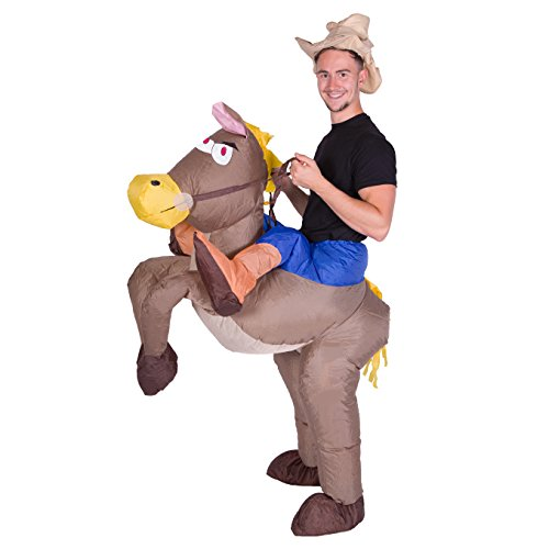 Horses Behind Sign - Bodysocks Adult Inflatable Cowboy Fancy Dress Costume