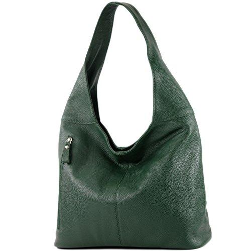 de cuero Flaschengrün T150 de hombro Damentasche de Bolso Bolso modamoda ital Wildleder de Bolso hombro TqgwddI
