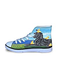 Owaheson Canvas High Top Sneaker Casual Skate Shoe Boys Girls Paint Labrador Retriever Mom and Duck Babies