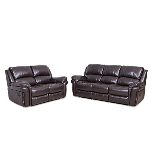 Recliner Two Set Reclining Stretch Chair Loveseat Double + Three Seat Bonded Leather Sofa For Living Room Lounge Brown