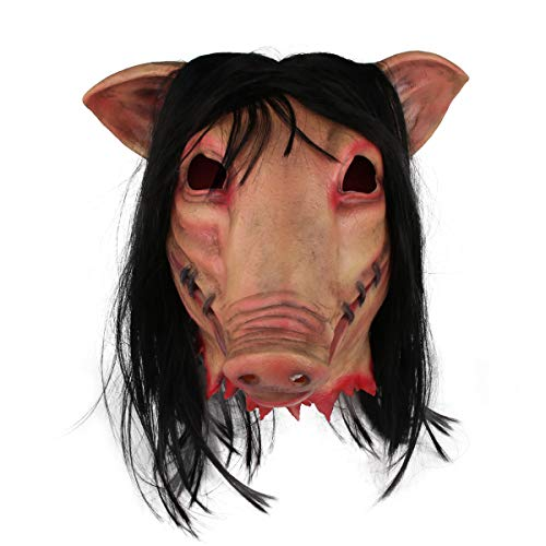 j2 Line Halloween Cosplay Costume Scary Mask Saw Pig Head Mask with Hair Masquerade Props Unisex