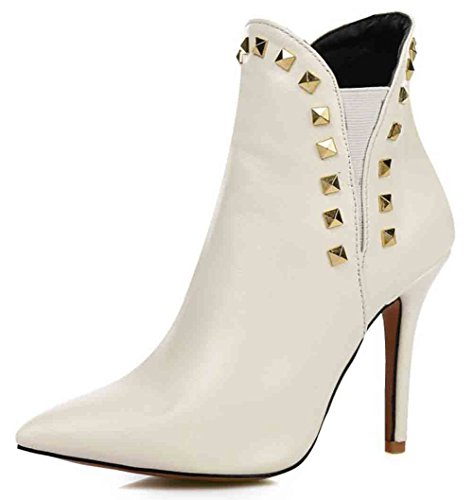 Easemax Womens Voguish Rivets Pointed Toe Slip On High Stiletto Heel Ankle Boots White