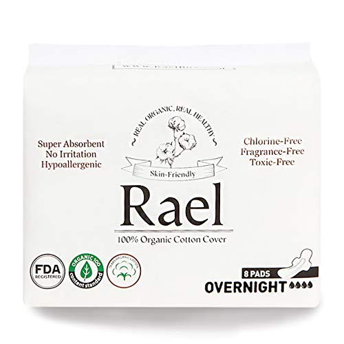 Rael 100% Organic Cotton Menstrual Overnight Pads, Thin Natural Sanitary Napkins with Wings (16 Total), Pack of 2