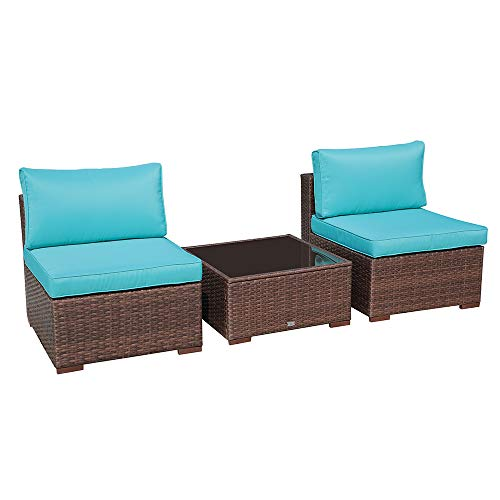OC Orange-Casual 3 Piece Patio Sectional Furniture Set Outdoor Armless Chair Loveseat Wicker Sofa & Coffee Table with Back Seat Cushions, Brown Wicker & Turquoise Cushion …