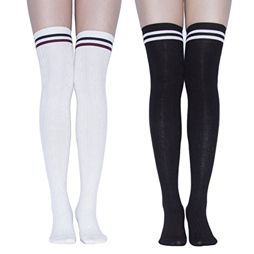 Girl Soccer Referee Costume (TooPhoto Women Daily Campus Tube Festival Gifts Thigh Knee High Stockings Socks A Black & White)
