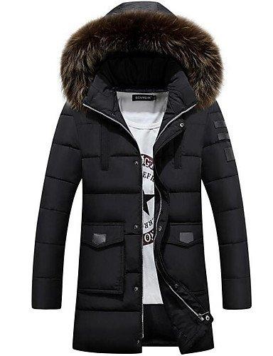 ASDASD SWDFSDF Herren Daunen Mantel Einfach Lässig Alltäglich Übergröße Solide-Baumwolle Baumwolle Langarm