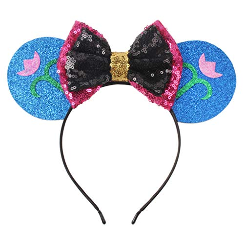 (YanJie Snowflake Mouse Ears Headband, Sequin Hair Accessories Costume(hot)