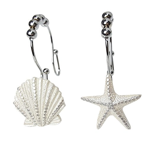ZILucky Shower Curtain Hooks Rings Double Glide White Seashell Starfish Stainless Steel Rustproof Metal Hangers Home Bathroom Fashion Decorative, Set of 12 Hooks by ZILucky