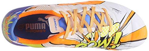 Puma evoPOWER 2.2 POP FG - zapatillas de fútbol de material sintético hombre blanco - Weiß (white-orange clown fish-electric blue lemonade 01)