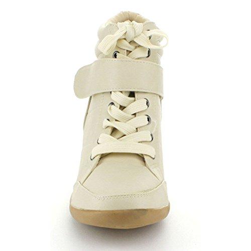 Voor Altijd Dames Peggy-61 Wedge Fashion Sneakers Beige