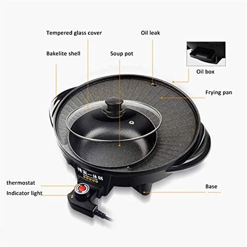 YAOSHUYANG Barbecue Et Hot Pot Barbecue électrique Hot Pot Smokeless intérieur Korean BBQ Grill Shabu Shabu Pot, antiadhésifs Hot Pot Grill, Shabu-Shabu Grilled Pot One-Piece