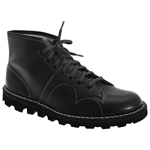 Grafters Mens Original Coated Leather Retro Monkey Boots (10 US) (Black)