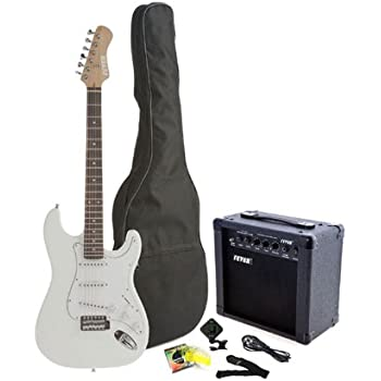 fever full size electric guitar with gig bag clip on tuner cable strap and. Black Bedroom Furniture Sets. Home Design Ideas