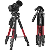 """Tairoad 55"""" Compact Travel Tripod, Light Weight Portable Camera Tripod for SLR Canon Nikon Sony DSLR Camera with Carry Case (Red)"""