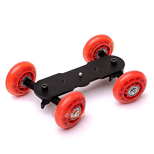 Zeadio Tabletop Portable Dolly Mini Rail Car Slider Skater Wheel Track Stabilizer for DSLR Camera Video DC - Red