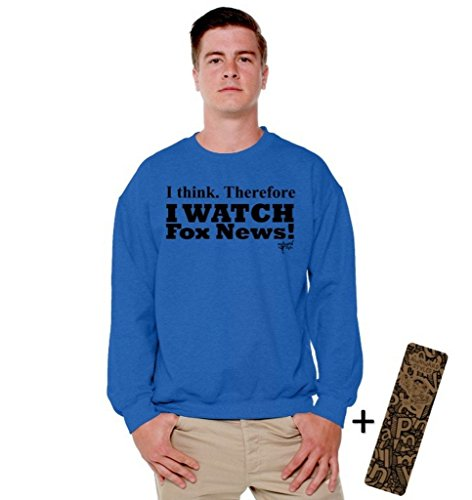 Awkwardstyles I Watch Fox News Crewneck Black Political Sweatshirt + Bookmark XL Blue