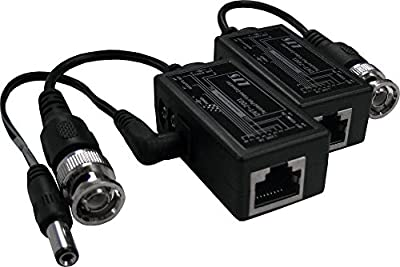 R-Tech Male BNC to RJ45 Video Balun with Power Connector (1 pair) for Security Surveillance CCTV Cameras and DVRs