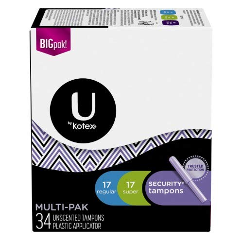 U by Kotex Security Tampons Multi-Pack, Regular and Super, 34 Ct (Pack of 36)