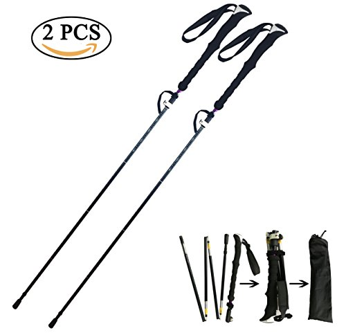 TheFitLife Best Five-Fold Trekking Poles Folding Compact and Ultra light Collapsible Adjustable Perfect for Hiking Walking Backpacking Mountaineering Lightweight Pole Sticks EVA Foam Handle (Pair)