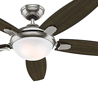 "Hunter Fan 54"" Contemporary Ceiling Fan with LED Light & Remote Control, Brushed Nickel Finish (Certified Refurbished)"