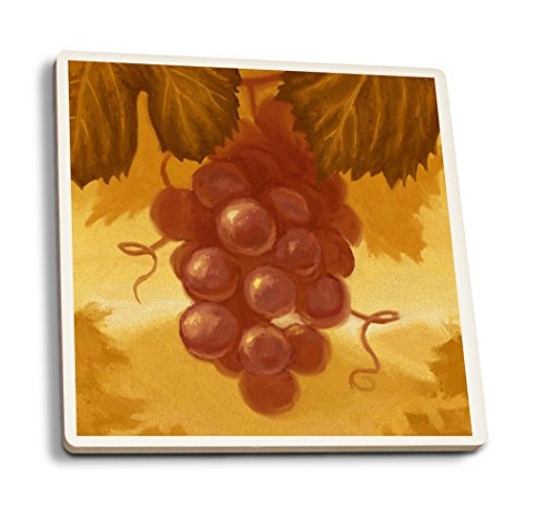 Lantern Press Red Grapes - Oil Painting (Set of 4 Ceramic Coasters - Cork-Backed, Absorbent) ()