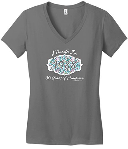 for All Made 1988 Paisley Crest Juniors Vneck XL Grey ()