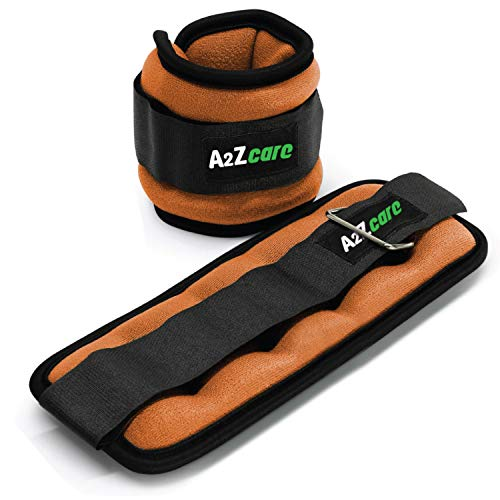 A2ZCARE Ankle Weight/Wrist Weight Set with Neoprene Padding for Soft, Comfortable Feel (Orange (1lb Pair))