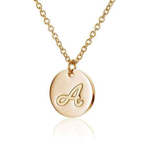 HUAN XUN Stainless Steel Initial Engraved Disc Necklace Alphabet Letter A ()