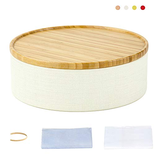 Round Candy Box - Storage Round Box  with Bamboo Wooden Lid, Scroll Pattern Secure Durable Storage and Organization for Seasonings, Herbs or Small Items Coffee, Dry Goods Candy Storage Loose Leaf  (White, M)