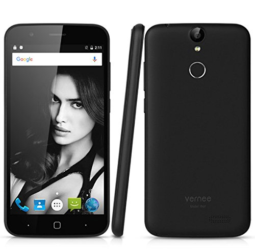Vernee Thor Unlocked Smartphone Dual Sim 4G 5'' 16GB Fingerprint ID T Mobile OTG Quick Charge 13MP Camera (Black)