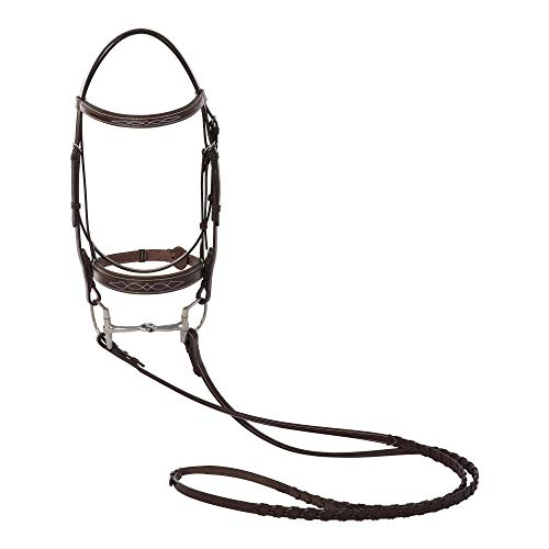 - Huntley Equestrian Fancy Stitched Sedgwick Leather Padded Bridle with Reins (Sedgwick Australian Nut, Oversize)