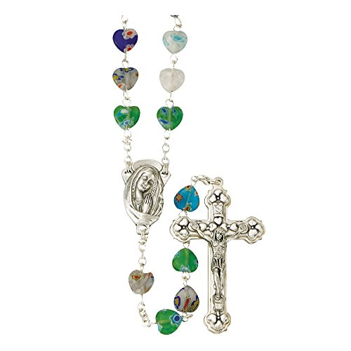 Murano Rosary Crucifix - True Faith Jewelry Murano Style Glass Heart Prayer Bead Rosary with Madonna Center, 21 1/2 Inch
