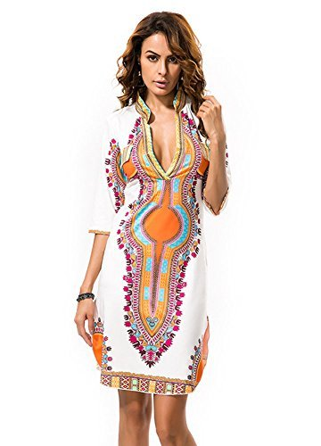 Dh Apple Women Bohemian V Neck Vintage Printed Ethnic Style Summer Shift Dress (XL)