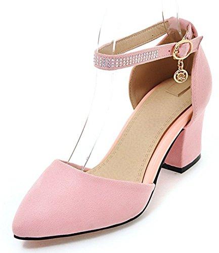 Aisun Damen Sexy Geschlossen Spitz Zehe Strass Knöchelriemchen Blockabsatz Sandale Mit Schnalle Pink