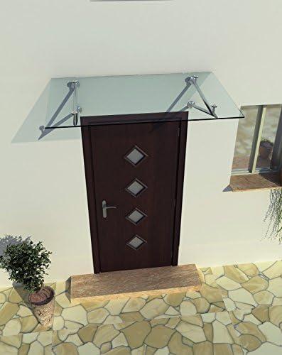 190 x 90 cm Glasvordach Vordach T/ürvordach T/ürdach Haust/ür Klarglas Glas Edelstahl VSG