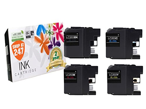 Compatible Brother LC203BK,LC203C,LC203Y,LC203M XL Series High Yield ink cartridges replacement for MFC-J5520DW,J4320DW,J4420DW,J4620DW,J5620DW,J5720DW 4 pc inkjet LC203 Black,Cyan,Yellow,Magenta